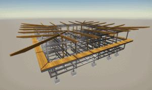 Plan TEKLA du bâtiment du CNES de Kourou réalisé par les Ateliers David