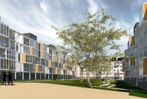 Image de synthèse des futures façades de la résidence Jules Guesde à Saint Nazaire qui seront réhabilitées avec la pose de balcons réalisée par les Ateliers David