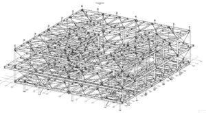 Schéma du plan de montage du bâtiment du CNES réalisé par les Ateliers David